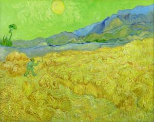 「수확하는 농부가 있는 밀밭」(1889)